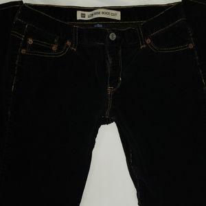 "GAP 2A L27"" Low Rise Boot Cut Black Corduroy Pants"